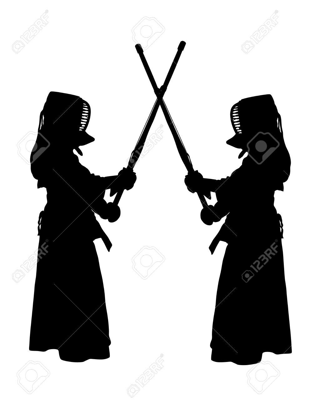 剣道トレーニングで黒の防護服とマスクを着て 2 つの文字のベクター