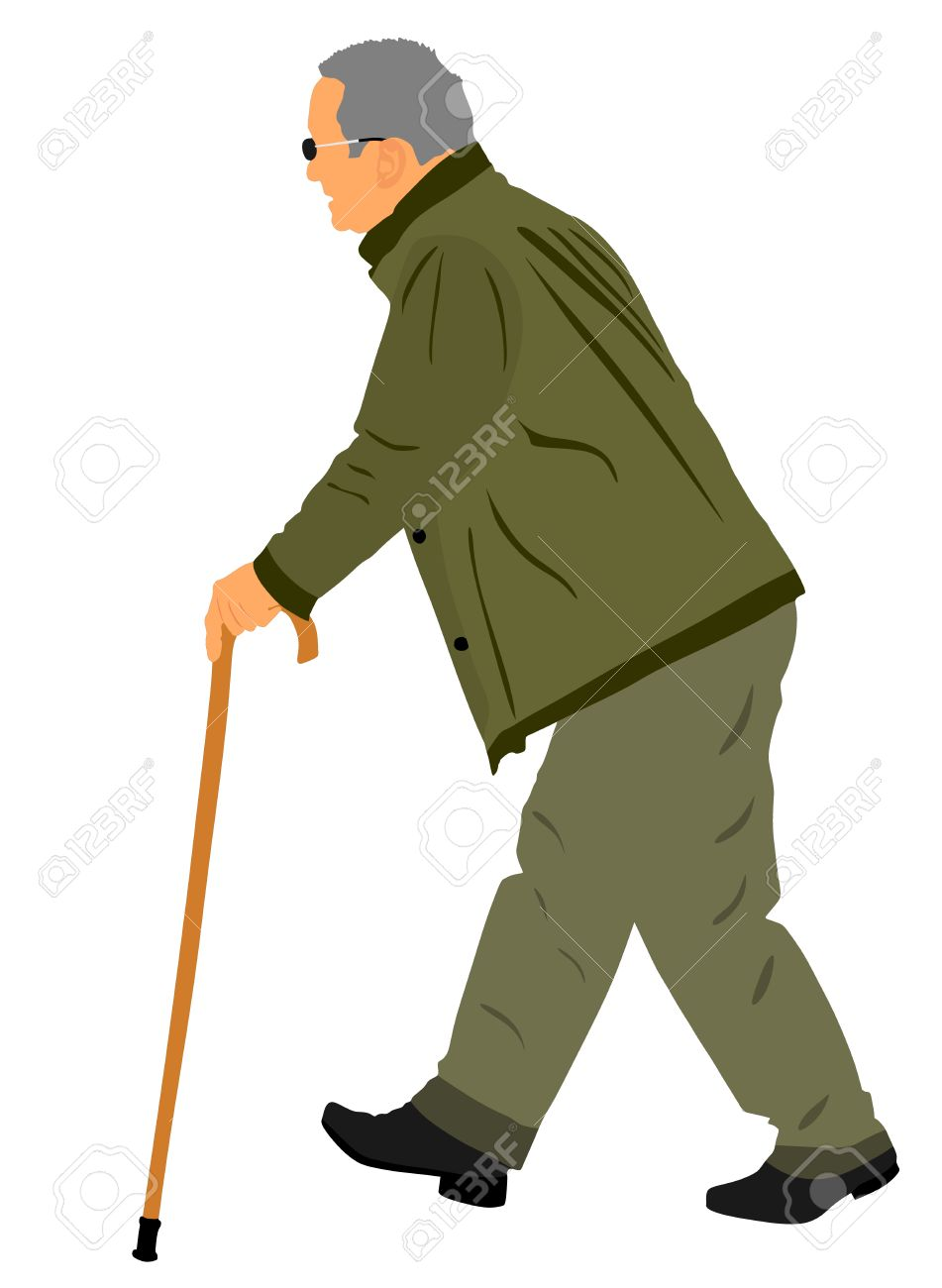 Old man person walking with stick. Vector character isolated on white  background. Senior mature
