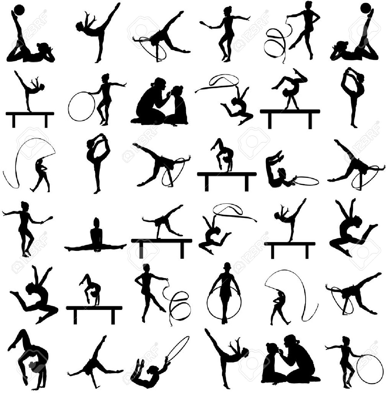 Athlete woman in gym exercise. Ballet girl vector figure isolated on white background. Black silhouette illustration of gymnastic woman. Rhythmic Gymnastics vector silhouette big group. - 71066666