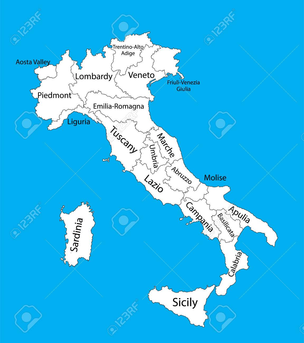 Editable Vector Map Of Italy Vector Map Of Italy Isolated On