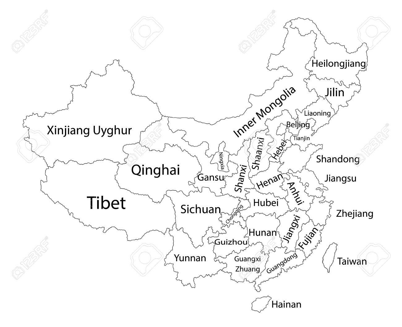 Editable blank vector map of China. Vector map of China isolated on background. High detailed. Autonomous communities of China. Administrative divisions of China counties, separated provinces. - 62185721