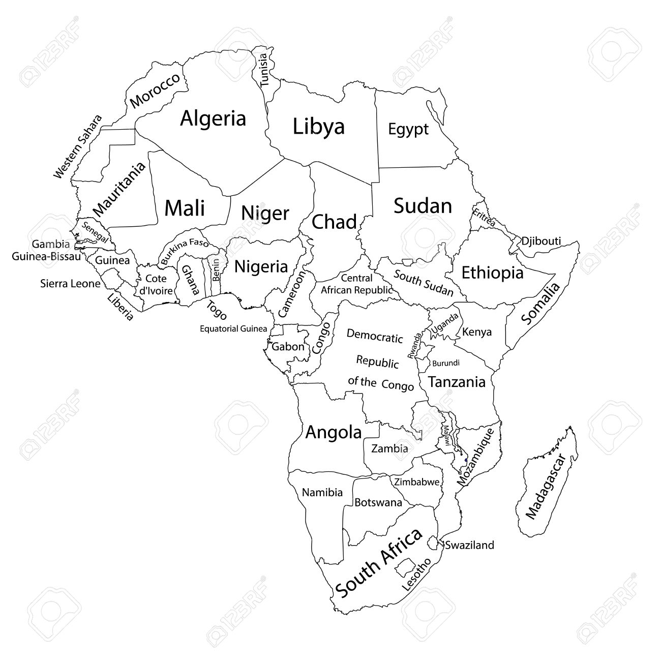 Carte Vectorielle Vierge éditable Dafrique Carte Vectorielle Dafrique Isolée Sur Fond Décran Très Détaillé Carte Des Pays Séparés Dafrique