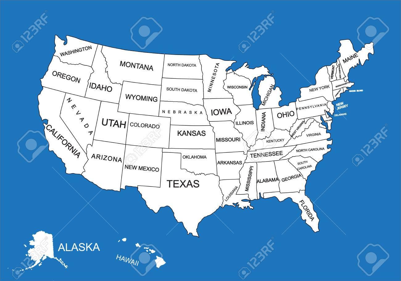 Carte Etats Unis Damerique.Carte Vectorielle Vierge Modifiable Des Etats Unis Carte Vectorielle De Etats Unis D Amerique Isole Sur Fond D Ecran Carte Detaillee Detaillee Des