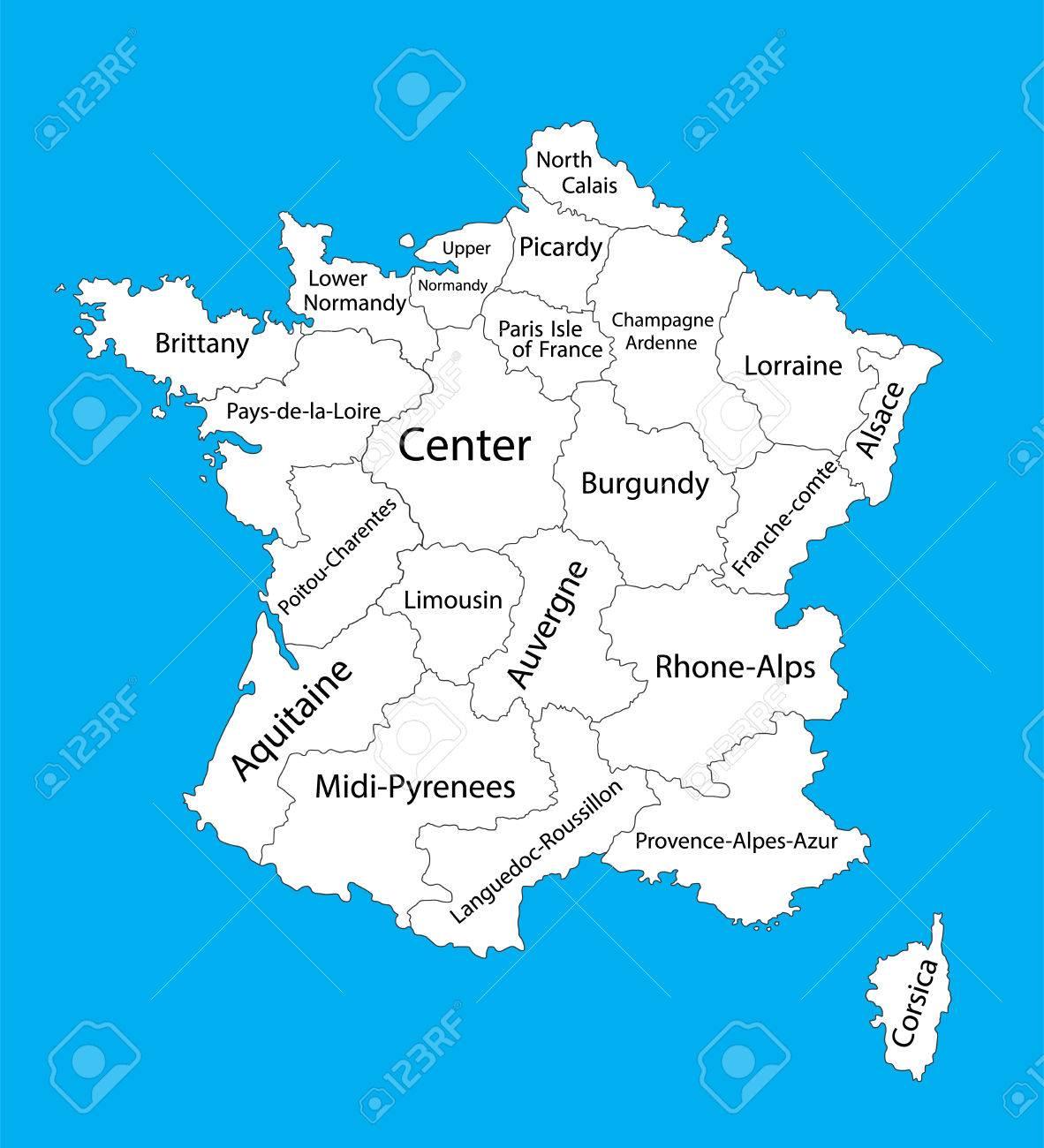 フランスのマップを編集可能な空...