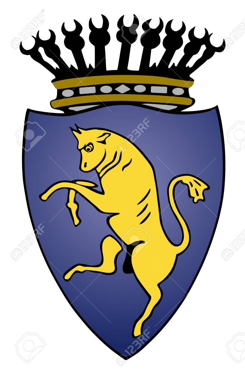 Coat of arms of Turin, Italy vector crest. Torino city Italy. - 72179956