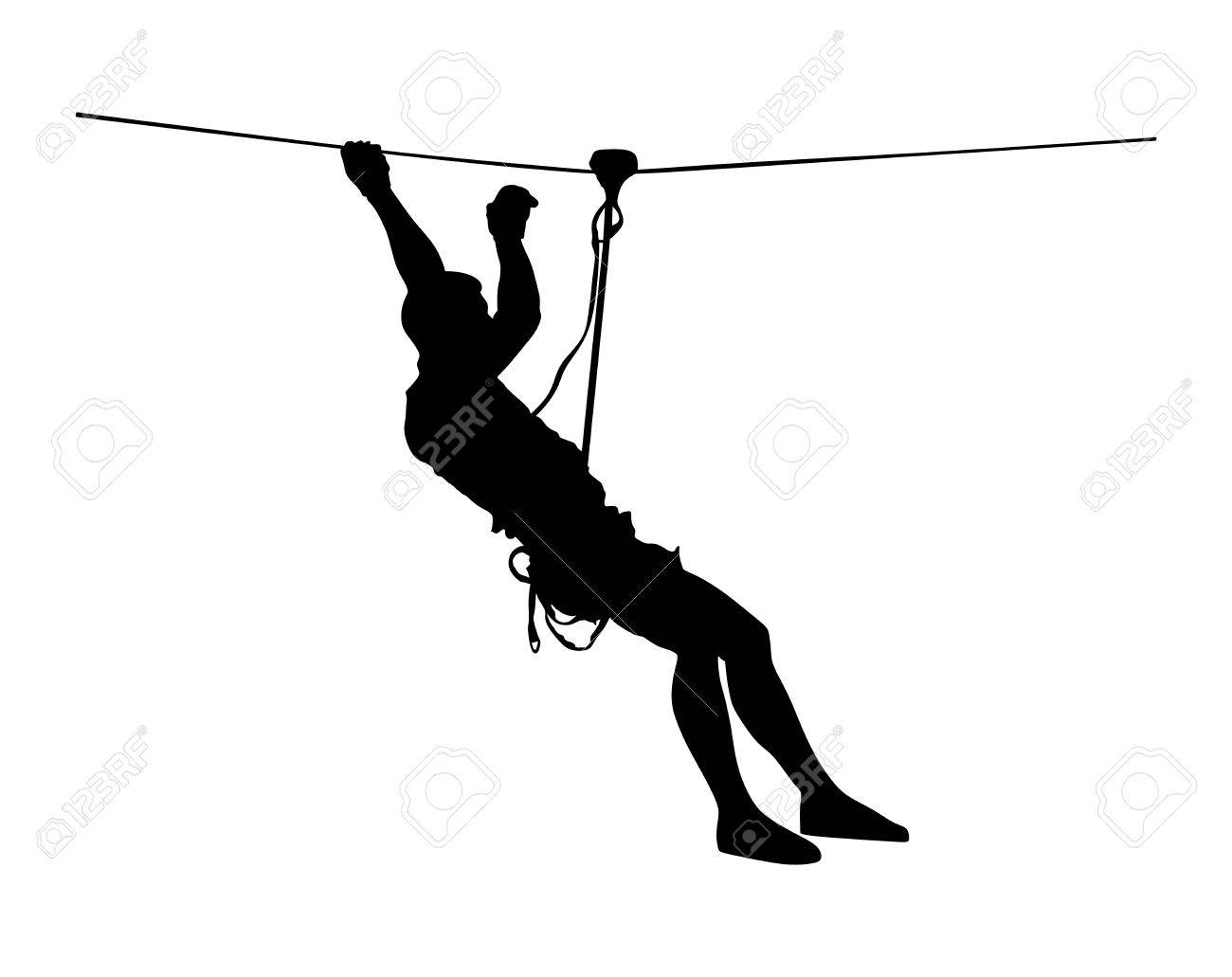 Extreme sportsman took down with rope. Man climbing vector silhouette illustration, isolated on the white background. Sport weekand action in adventure park rope ladder. Ropeway for fun, team building - 61491451