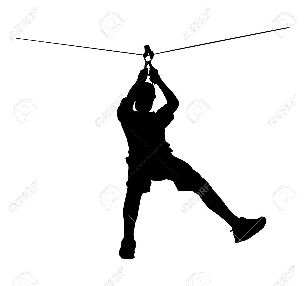 Extreme sportsman took down with rope. Man climbing vector silhouette illustration, isolated on the white background. Sport weekand action in adventure park rope ladder. Ropeway for fun, team building - 61491456