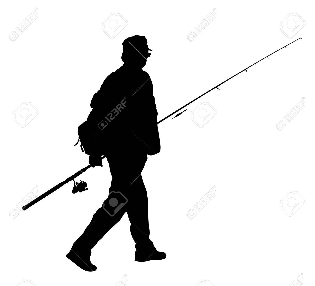 Fisherman vector silhouette illustration isolated on white background. - 72179982