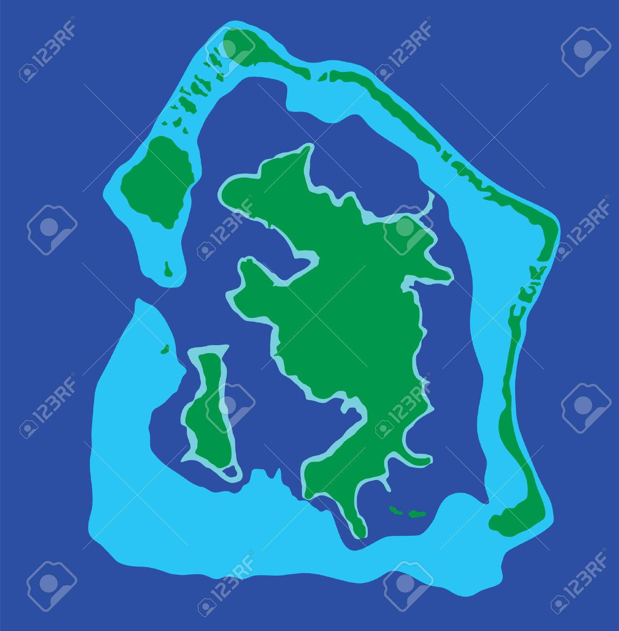Bora Bora island, vector map isolated on blue background. High..