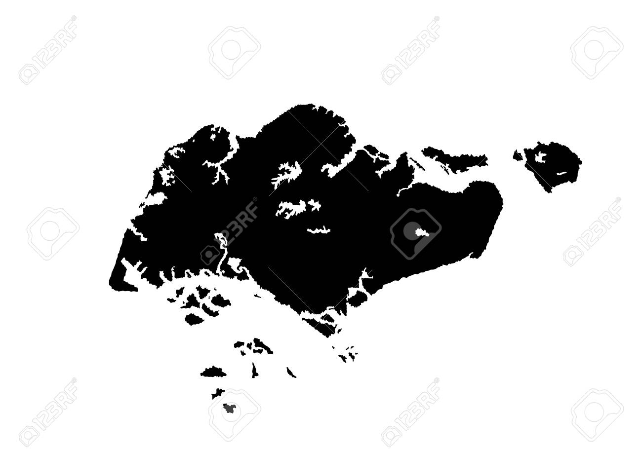Republic Of Singapore Vector Map Isolated On White Background ...