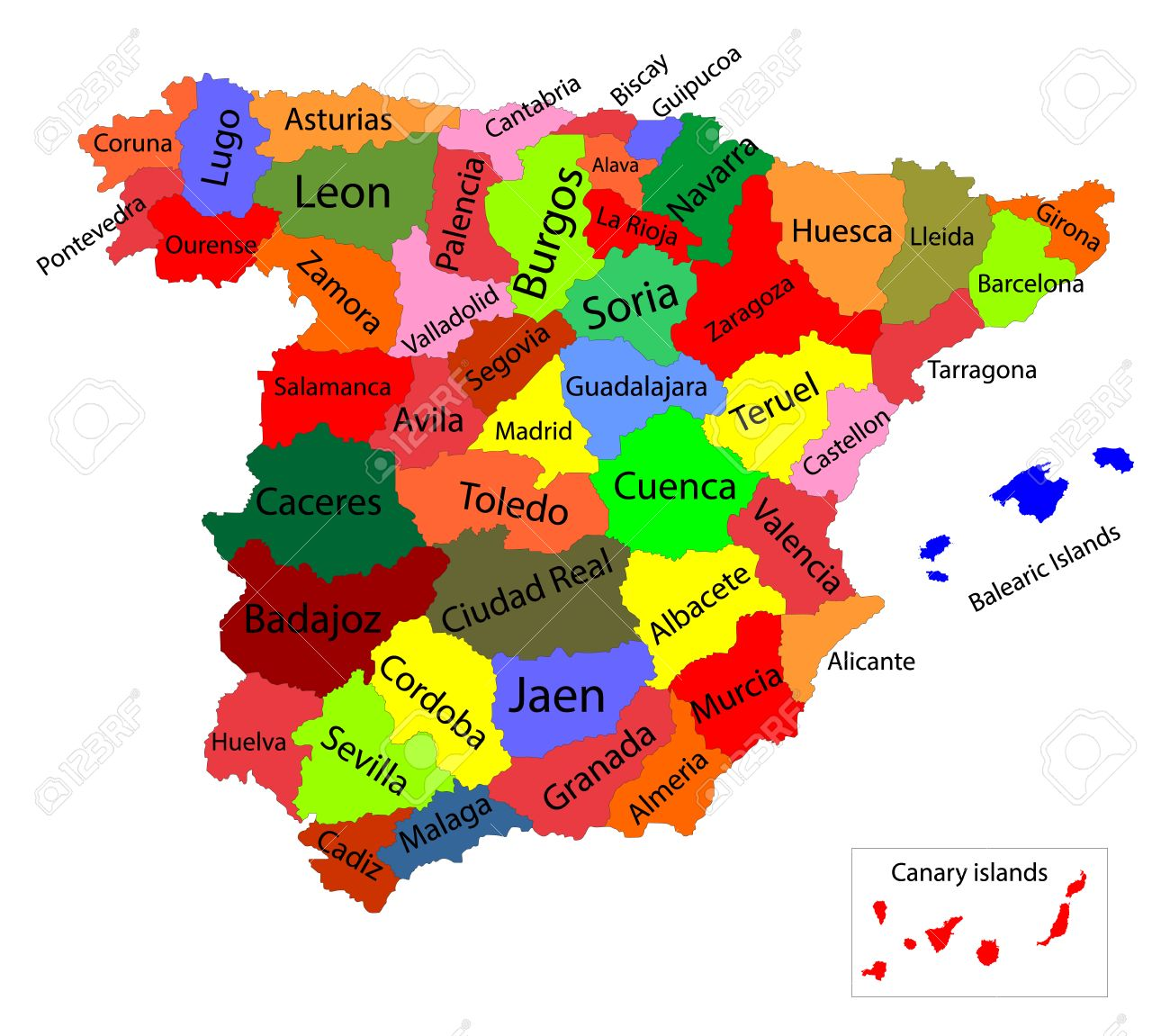 Editable Colorful Vector Map Of Spain Vector Map Of Spain Isolated
