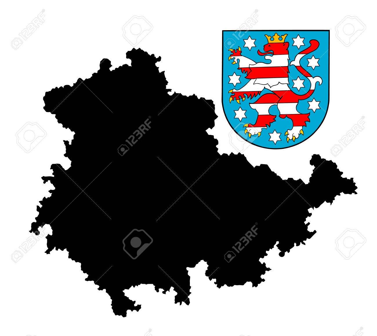 Carte Allemagne Thuringe.Blason De Thuringe Allemagne Drapeau Original Vecteur Isole Dans