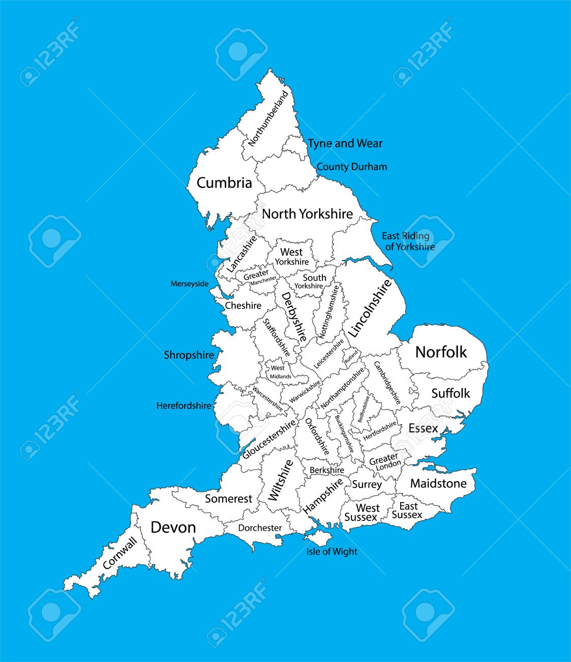 Editable Blank Vector Map Of England Vector Map Of England Isolated