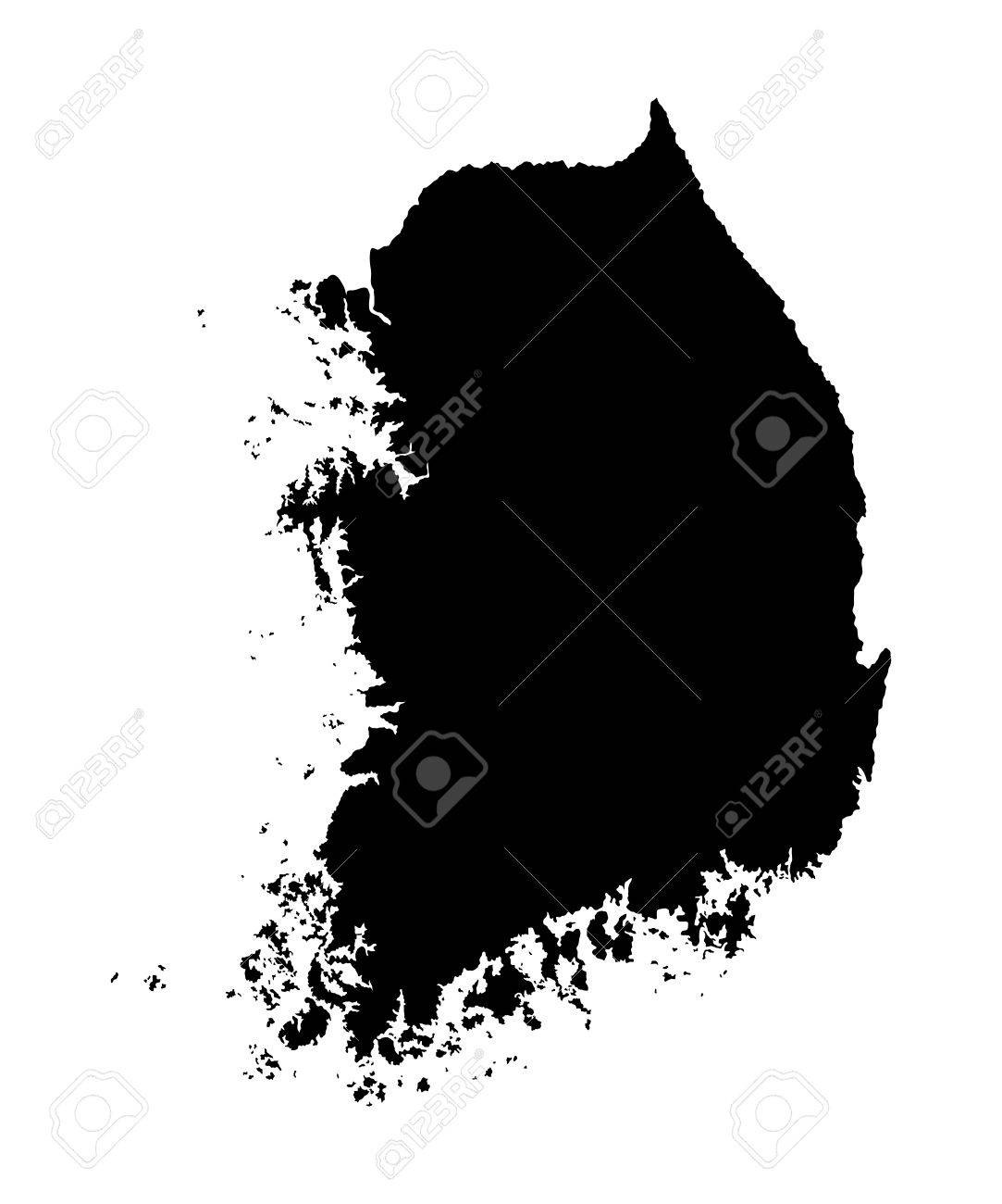 South Korea vector map high detailed silhouette illustration isolated on white background. - 61574887