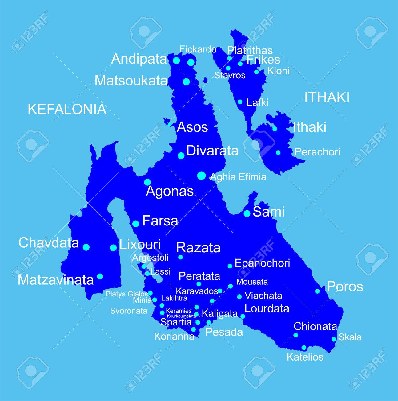 Island Of Cephalonia In Greece Vector Map Silhouette Illustration