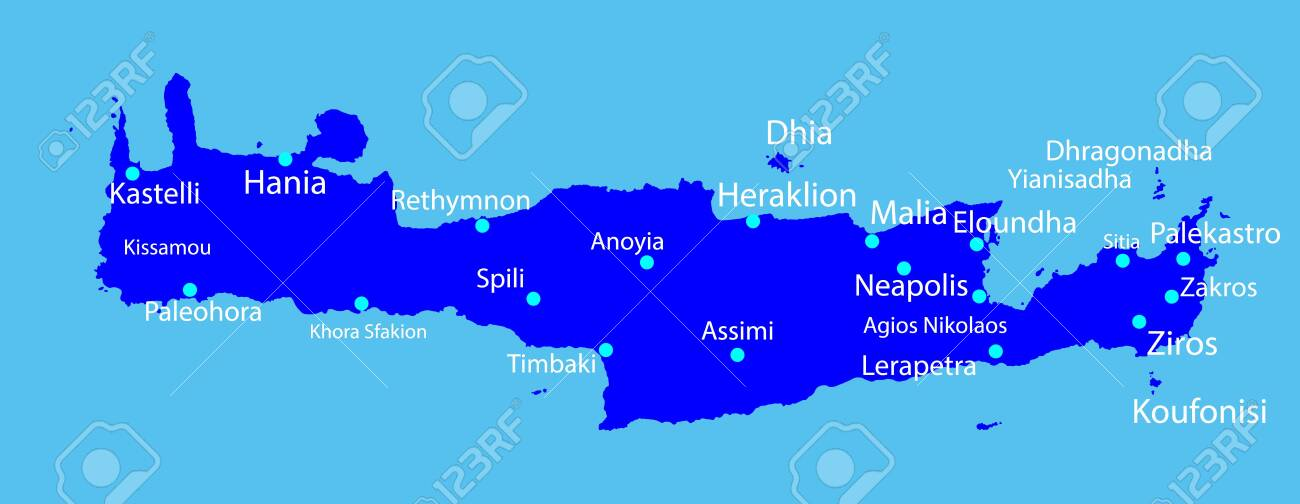 Island Of Crete In Greece Vector Map Silhouette On Blue Background