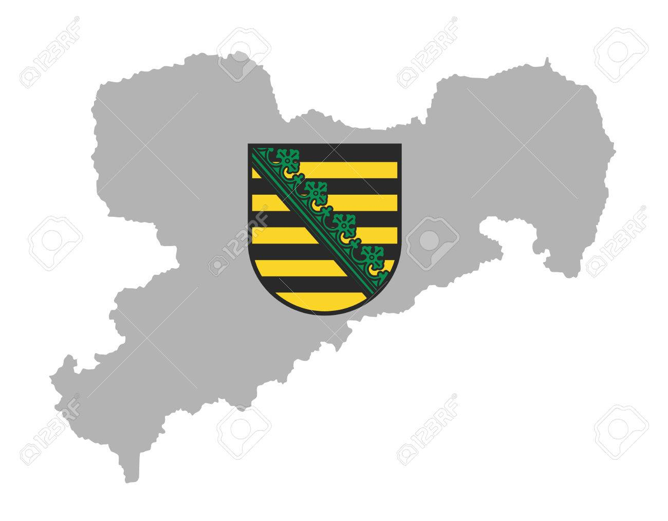 Coat of arms of Saxony, Original and simple flag isolated vector in official colors and Proportion Correctly. Sachsen map, Saxony map, high detailed silhouette illustration. Province in Germany. - 61575310