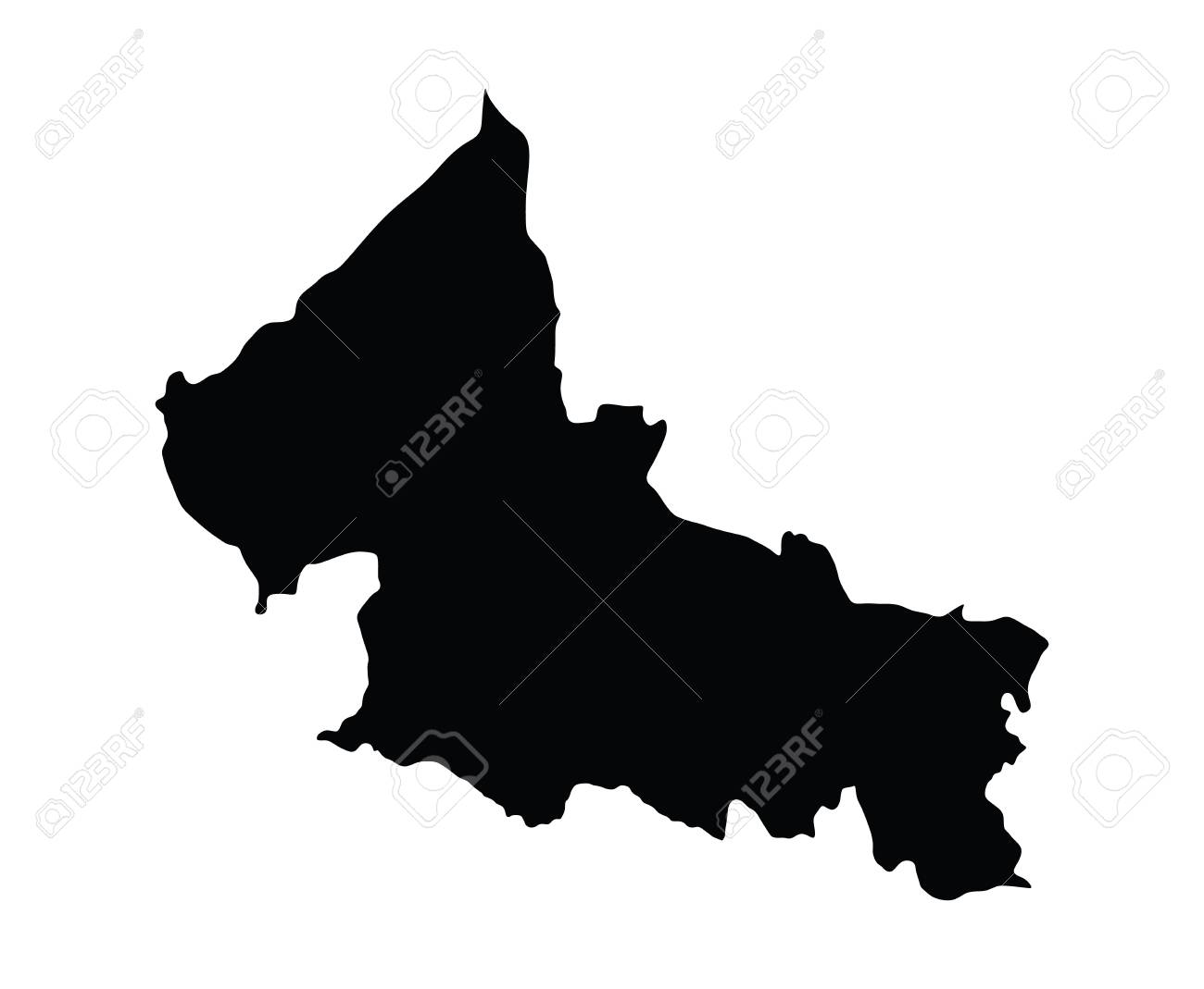 San Luis Potosi, Mexico, vector map isolated on white background. High detailed silhouette illustration. - 61575331