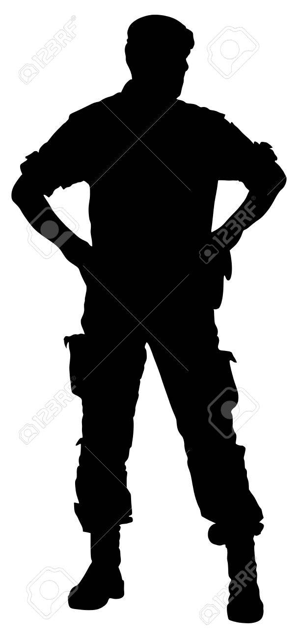 Army soldier's silhouette vector isolated on white background. (Memorial day, Veteran's day, 4th of july, Independence day). Modern young police man or soldier on duty. Special force member. - 66619600