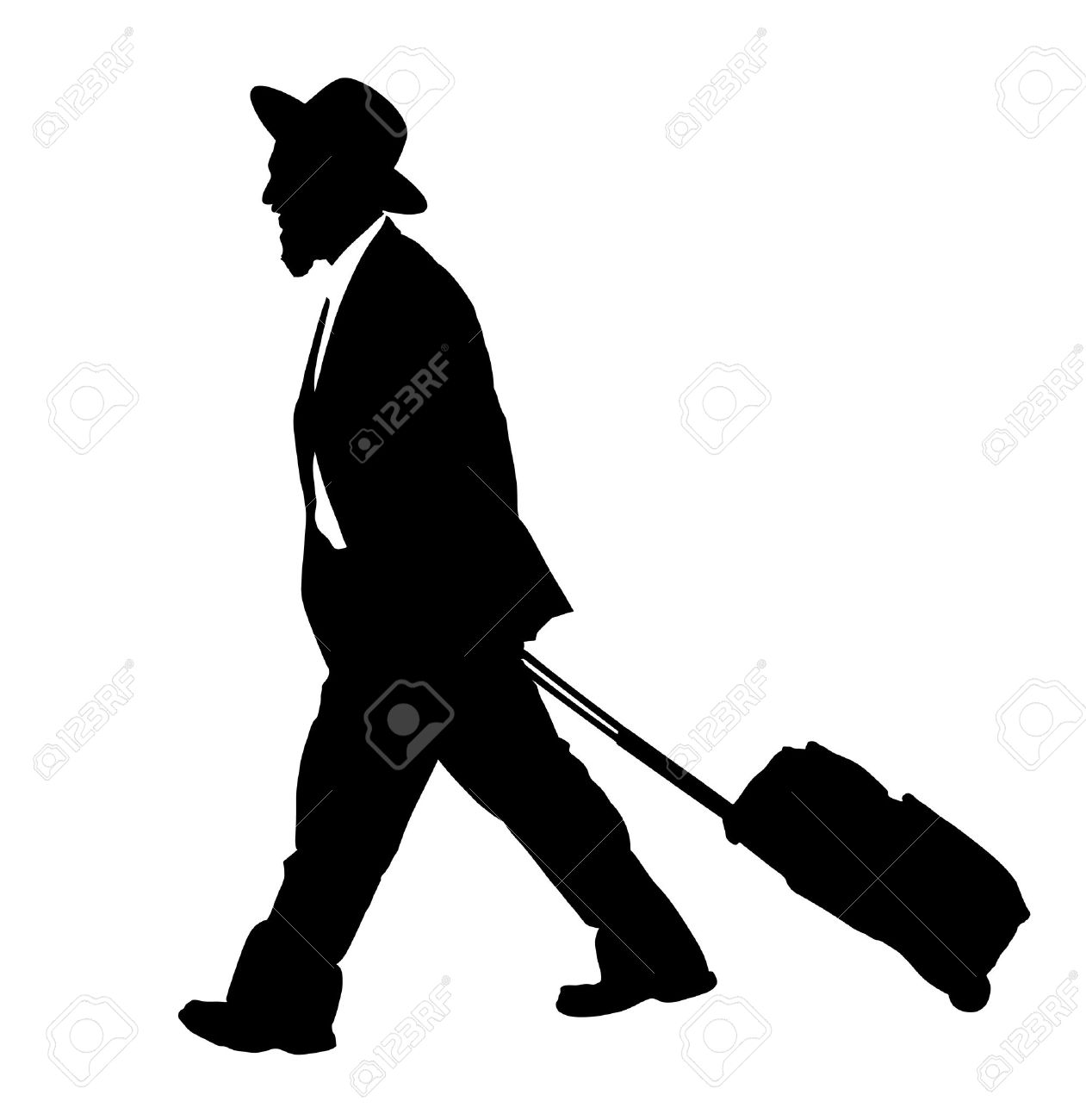 Amish man is suite silhouette illustration. Jewish business man. Tourist man traveler carrying his rolling suitcase silhouette illustration isolated on white background. diamond merchant - 65989317