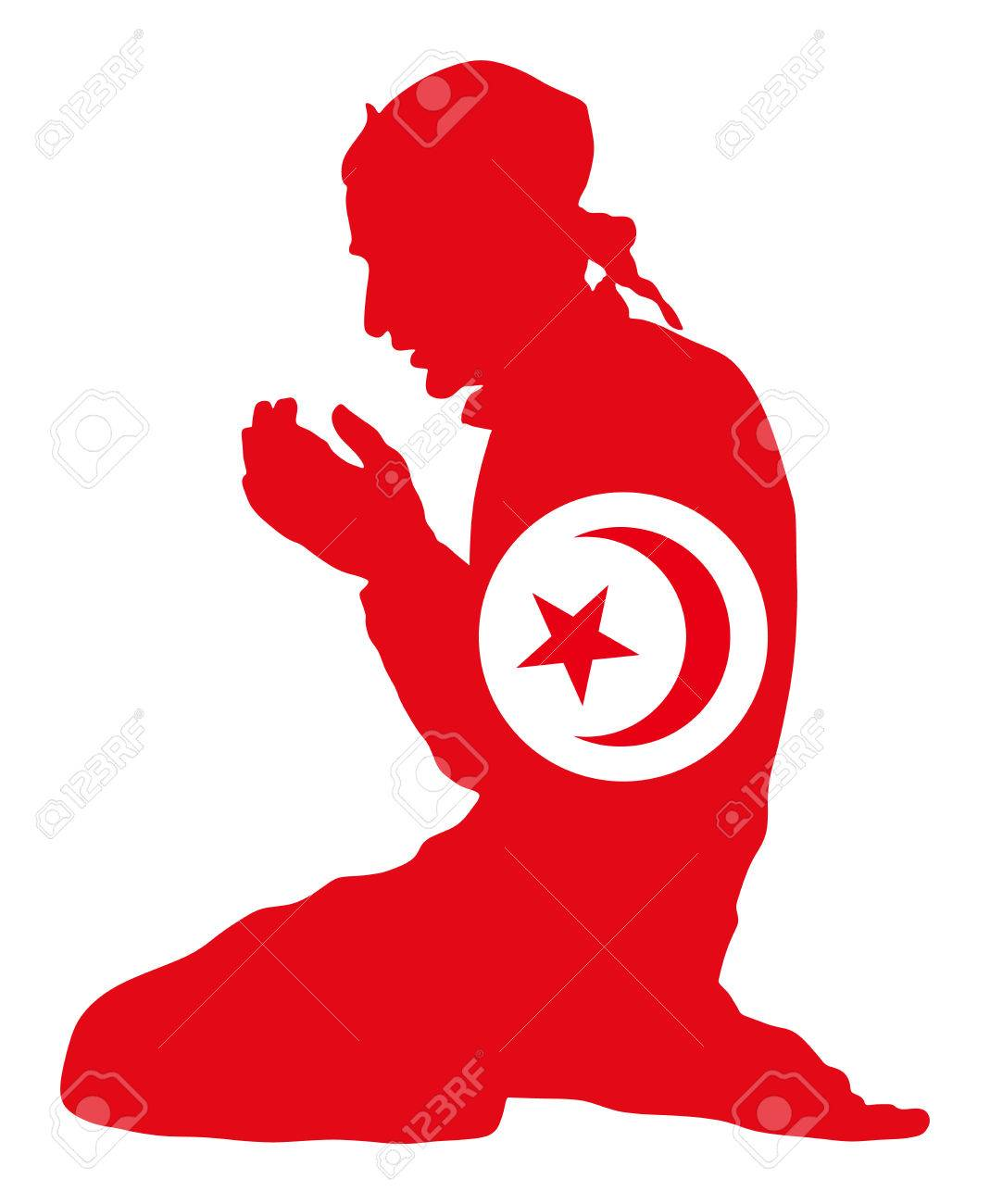 Islamic Religion Pose Of Muslim Man Praying Vector Silhouette