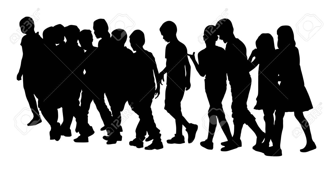 Kids going to school together, vector illustration. Back to School. Happy boys and girls. School kids excursion vector silhouette. Children crowds. Children in big group. Friends cross the street. - 128224227