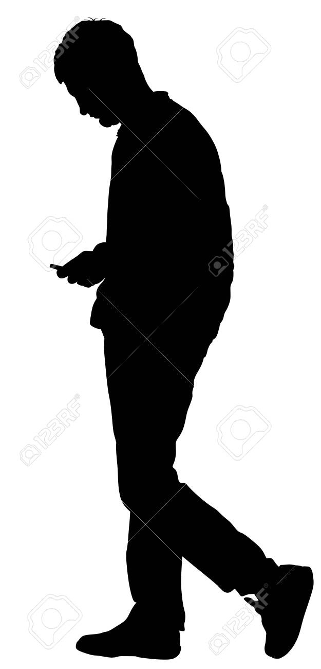 128224436 alone man on dating watching in smart phone sad boy waiting girl on date vector silhouette isolated