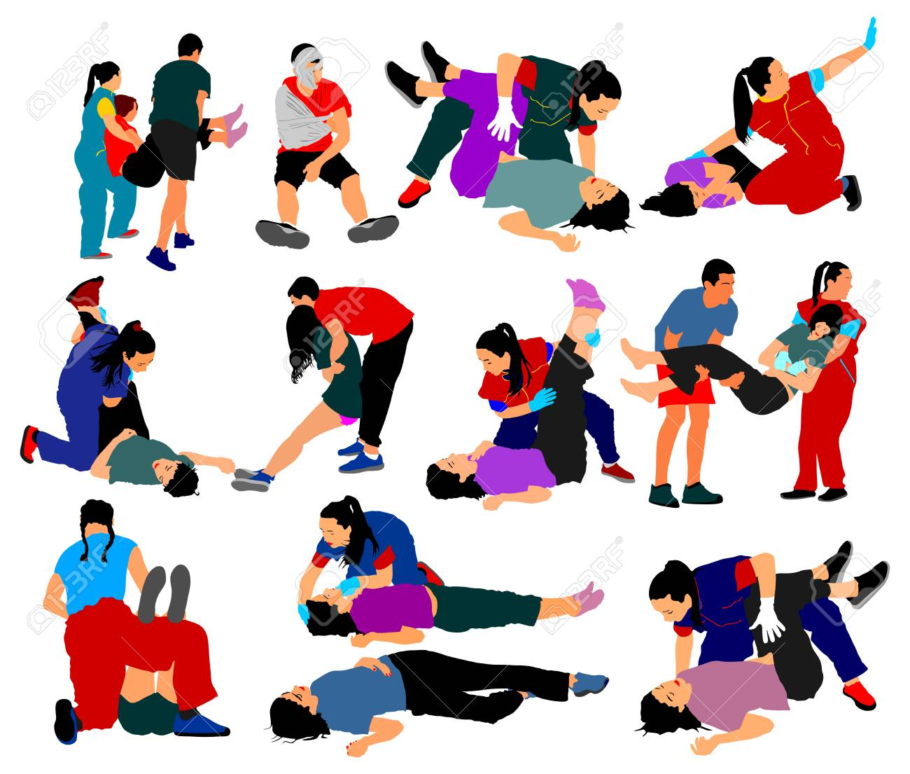 Drowning situation, first aid vector illustration, big group. Patients help drunk person overdose after party. Sneak attack victim damage cpr rescue team victim of fire evacuation and earthquake hurt. - 93338939
