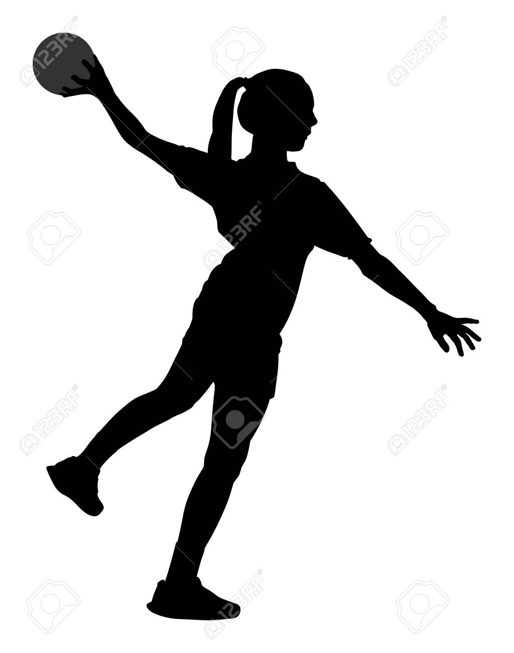 Handball player in action vector silhouette illustration isolated on white background. Woman handball player symbol. Handball girl jumping in the air. Handball (soccer) goalkeeper silhouette vector. - 128224589