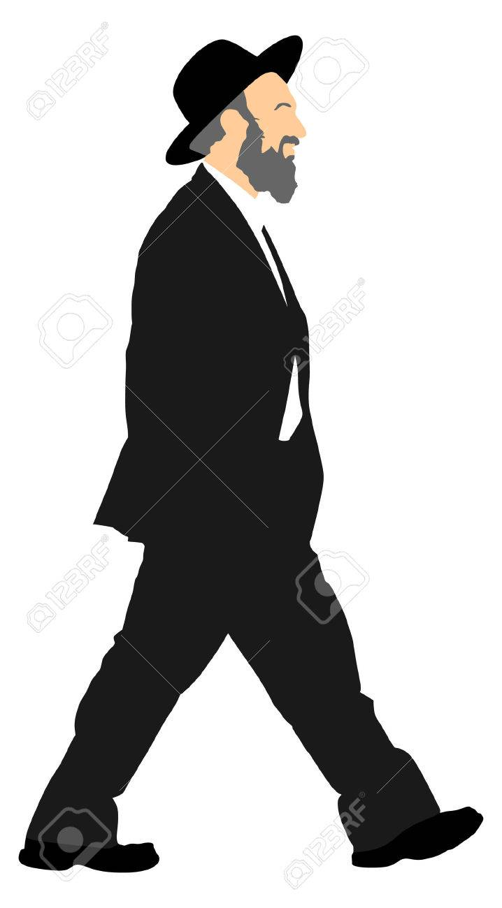 Amish man is suite silhouette illustration. Jewish business man. Tourist man traveler silhouette illustration isolated on white background. diamond merchant - 71923640