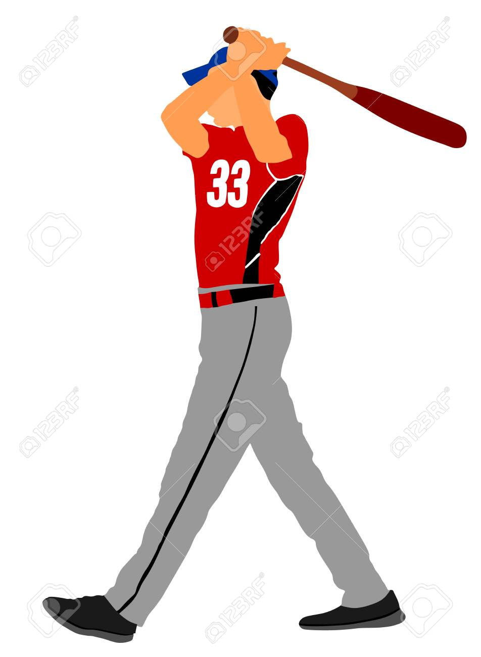 baseball player vector illustration baseball batter hitting rh 123rf com Vector Baseball Boy Baseball Batter's Box
