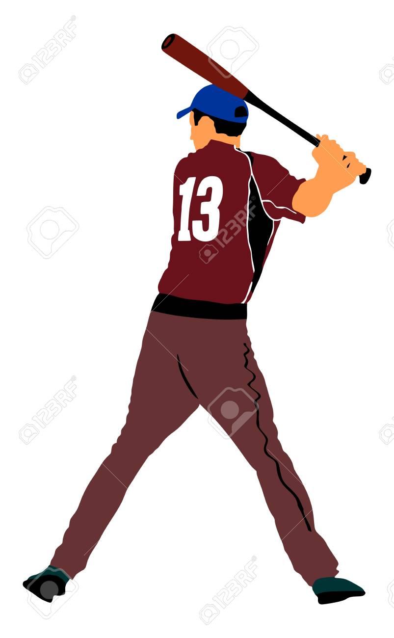 baseball player vector illustration baseball batter hitting rh 123rf com Baseball Clip Art Baseball Bat Clip Art