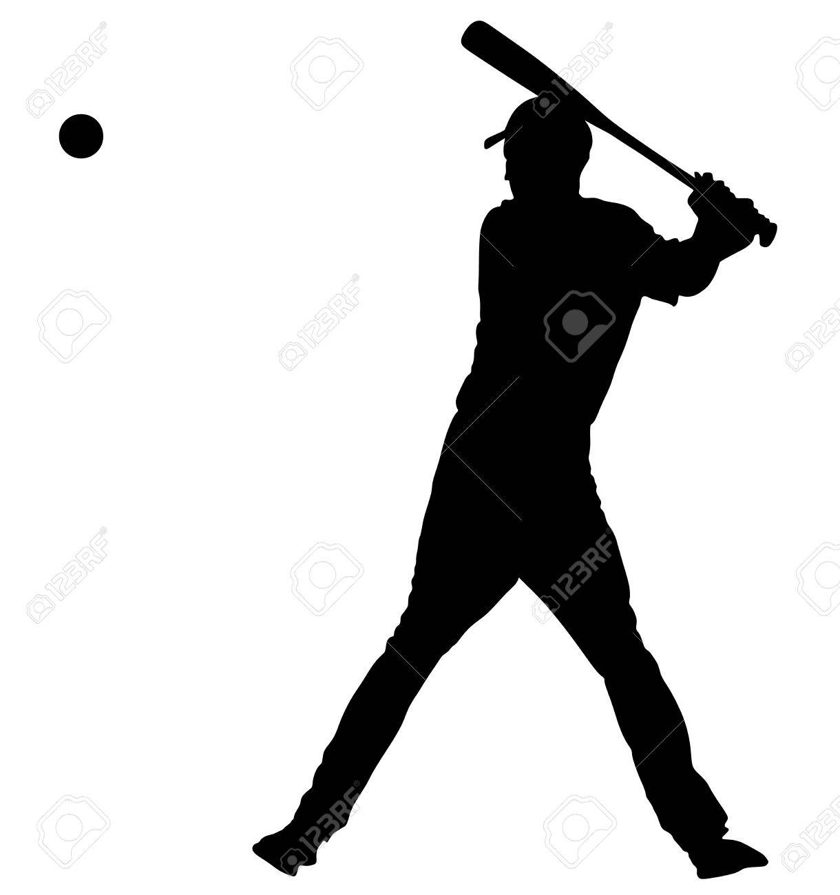 baseball player vector silhouette baseball batter hitting ball rh 123rf com Baseball Player Batter Clip Art Baseball Cap Vector