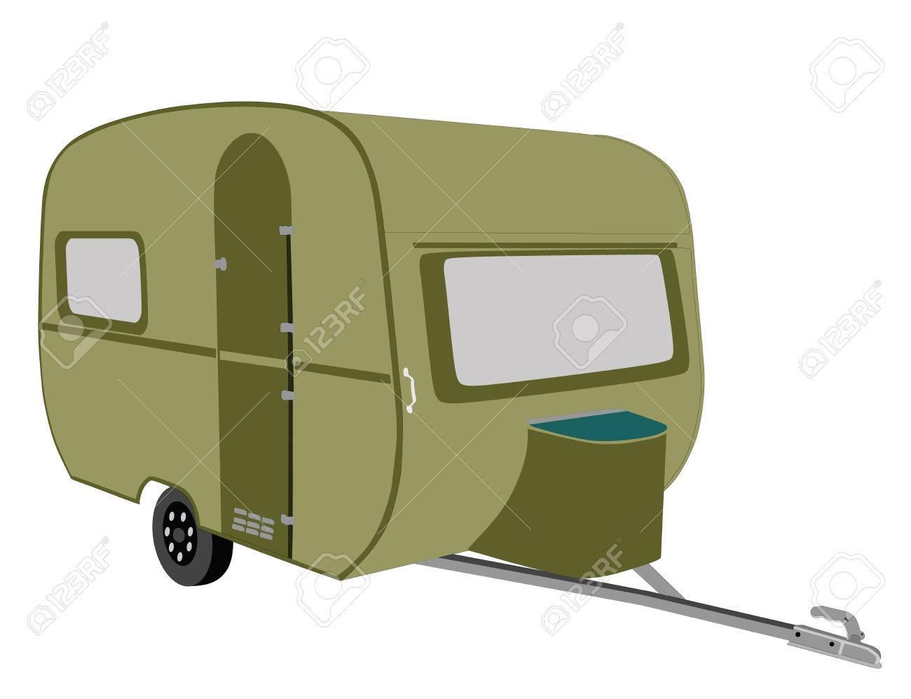 Camper Trailer Vector Illustration Stock