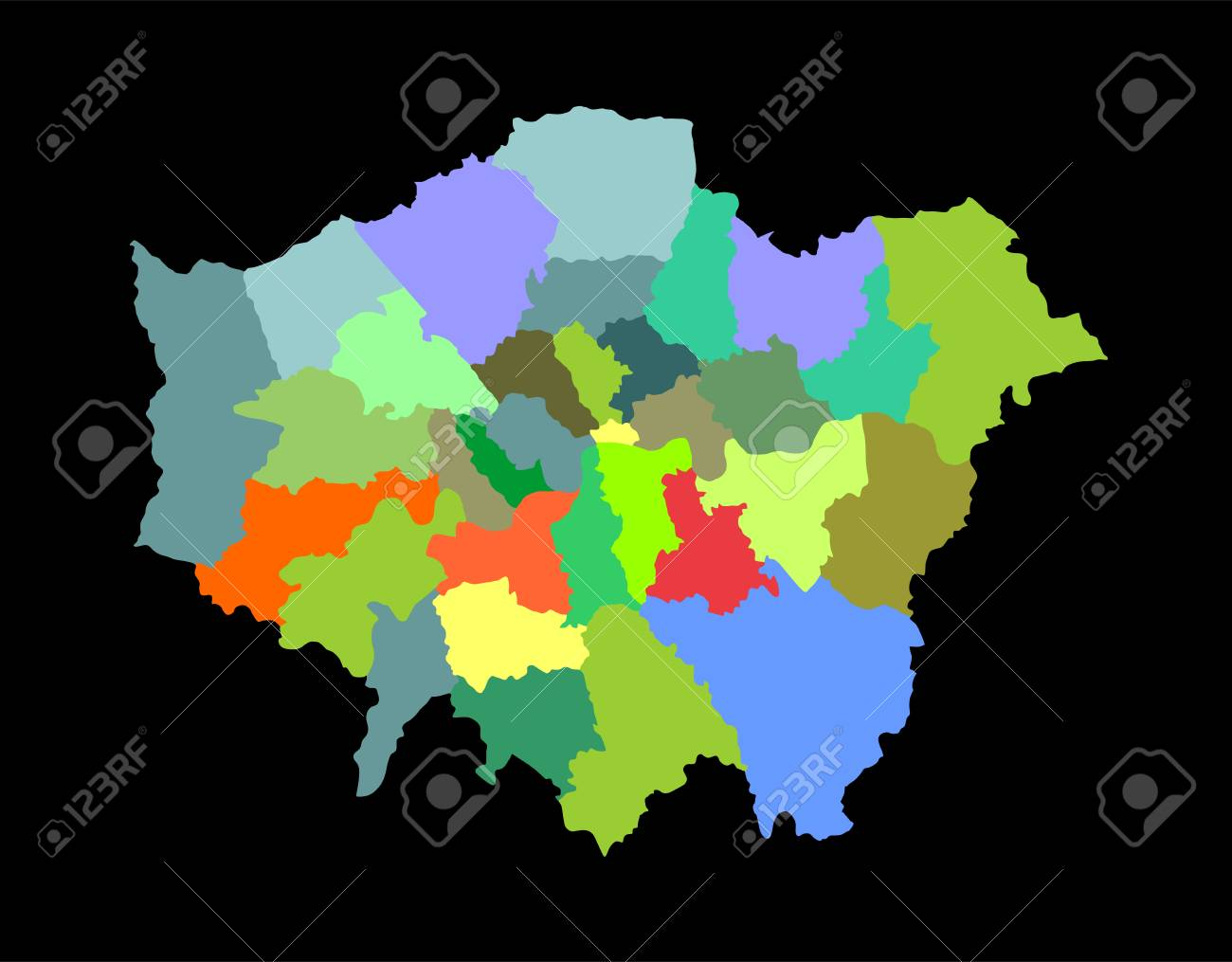 Greater London Vector Silhouette Map Isolated On Black Background