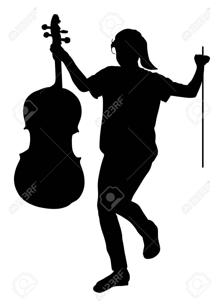 Happy Girl Graduating Music School Of Cello Vector Silhouette Illustration Young Cellist With And