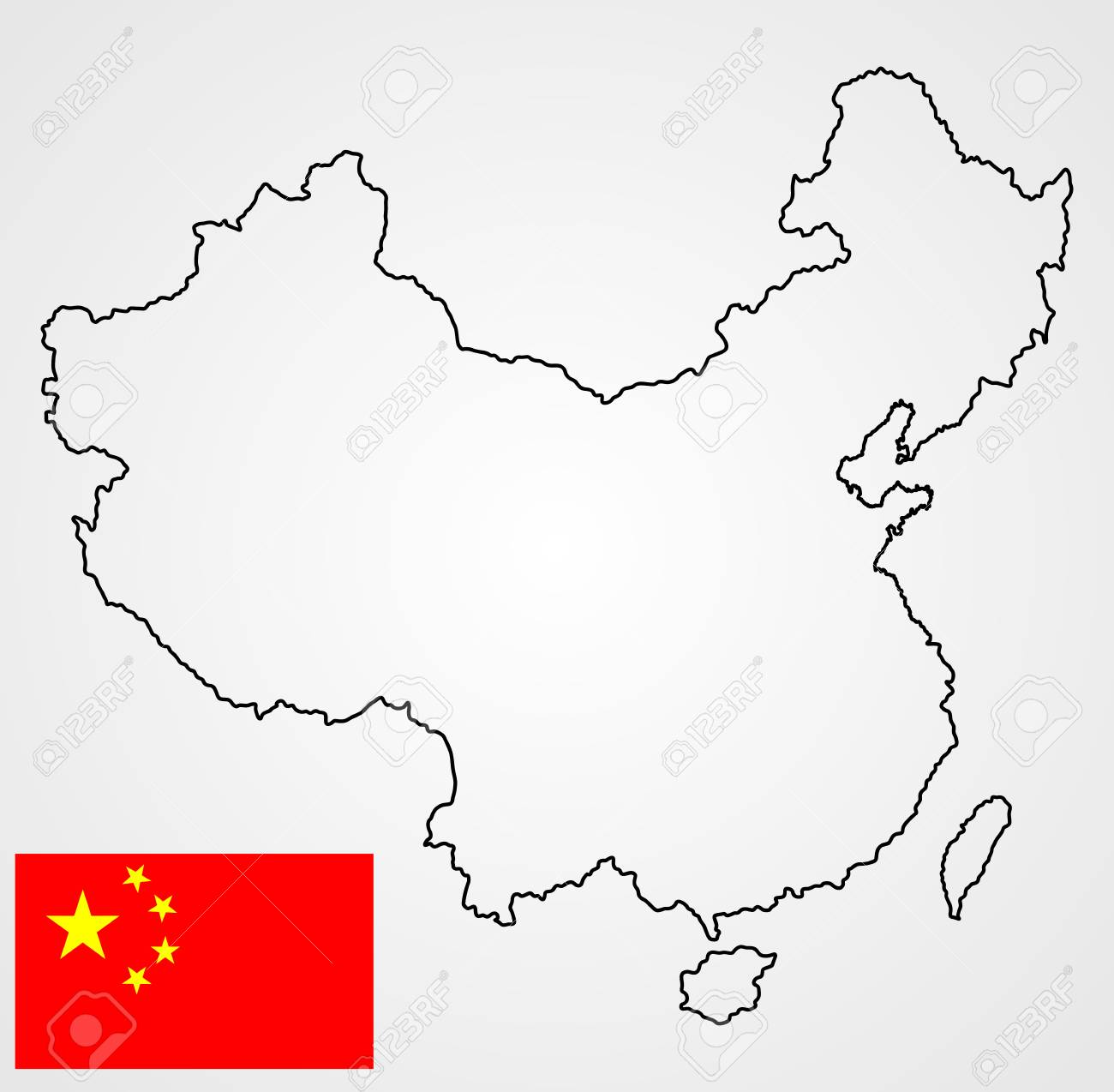 Map Of Peopleu0027s Republic Of China In Vector Contour And Vector Flag  Isolated On Background.