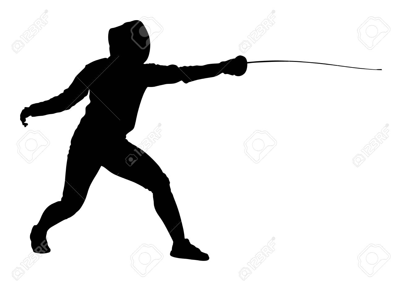 Fencing player portrait vector silhouette illustration isolated