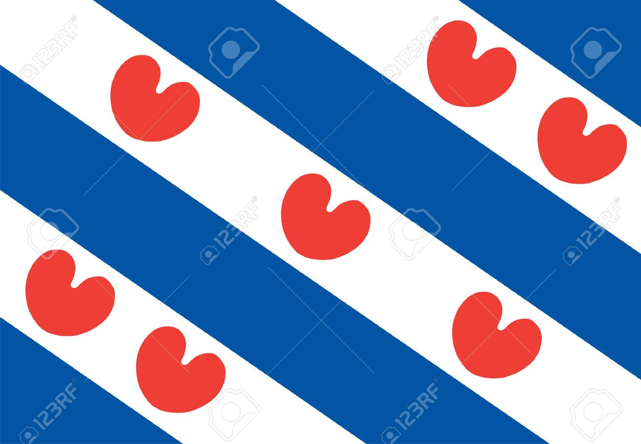 Vector flag of Friesland or Frisia is a province in the northwest of the Netherlands. - 71562384