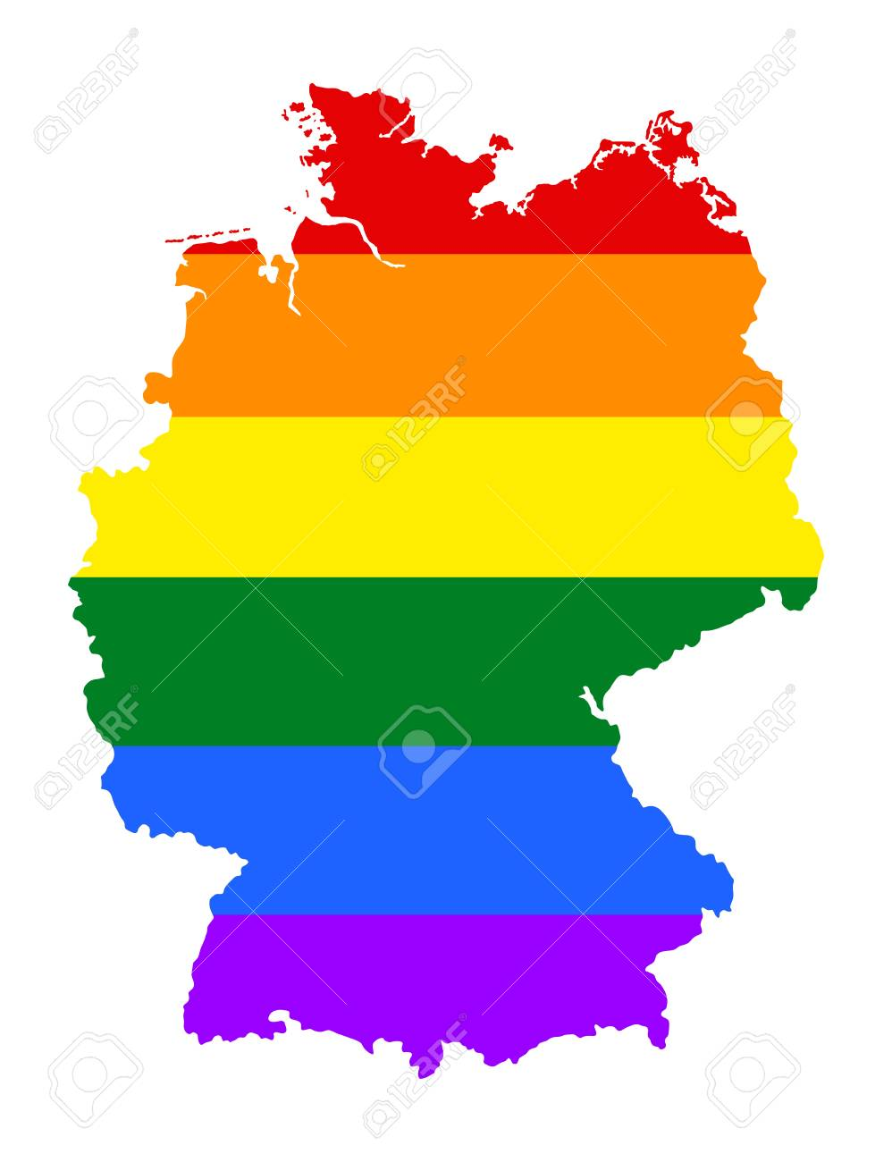 Map Of Germany Over The Years.Germany Pride Gay Map With Rainbow Flag Colors Gay Flag Over