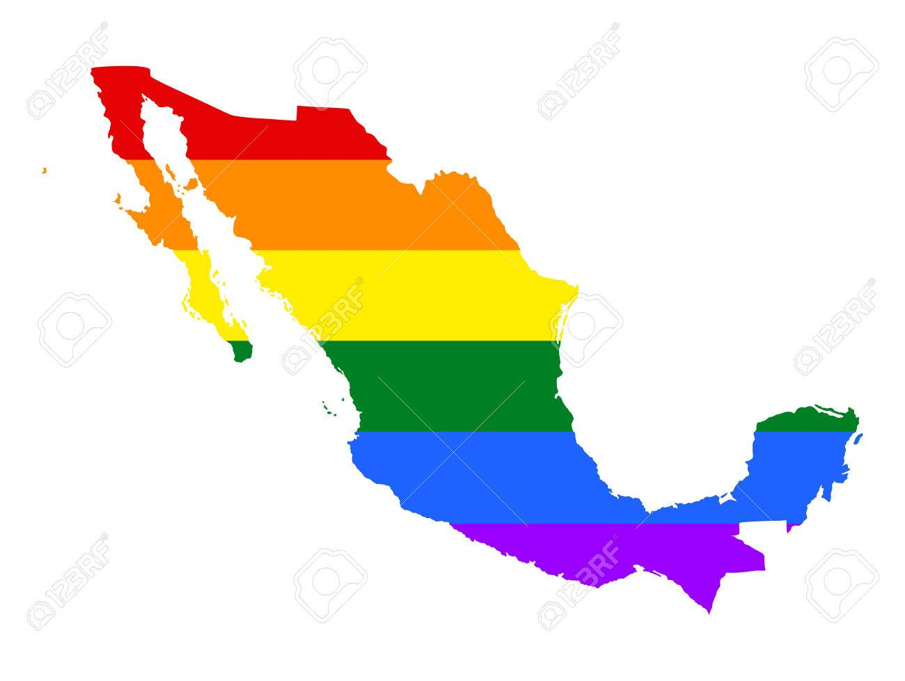 Mexico Pride Gay Map With Rainbow Flag Colors Gay Flag Over
