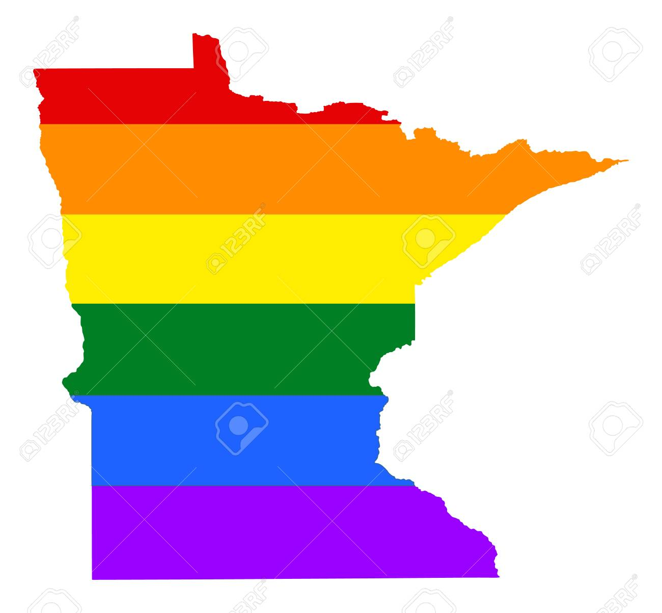 Minnesota Pride Gay Map With Rainbow Flag Colors United States