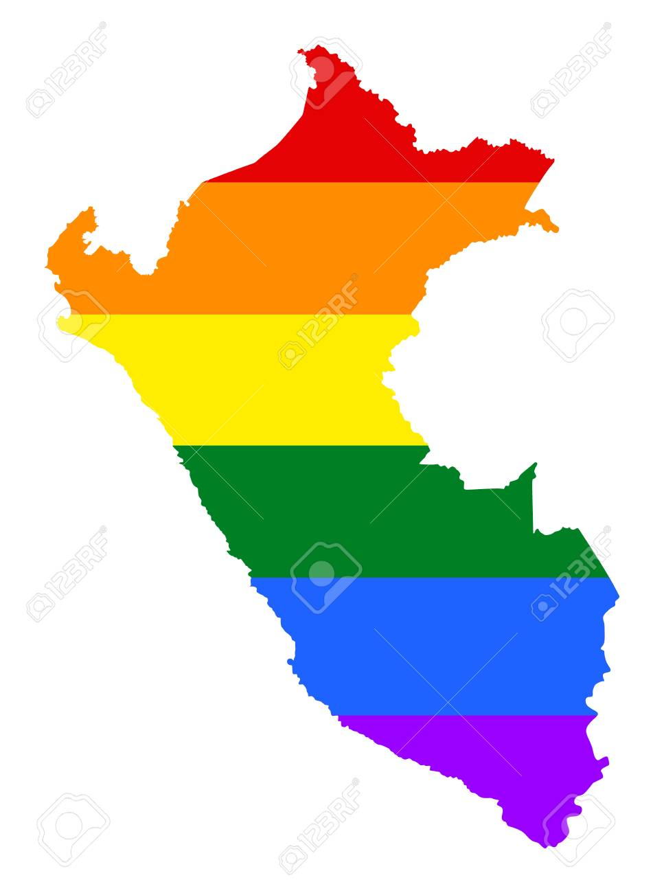 Peru pride gay map with rainbow flag colors. South America. Gay flag over  Peru