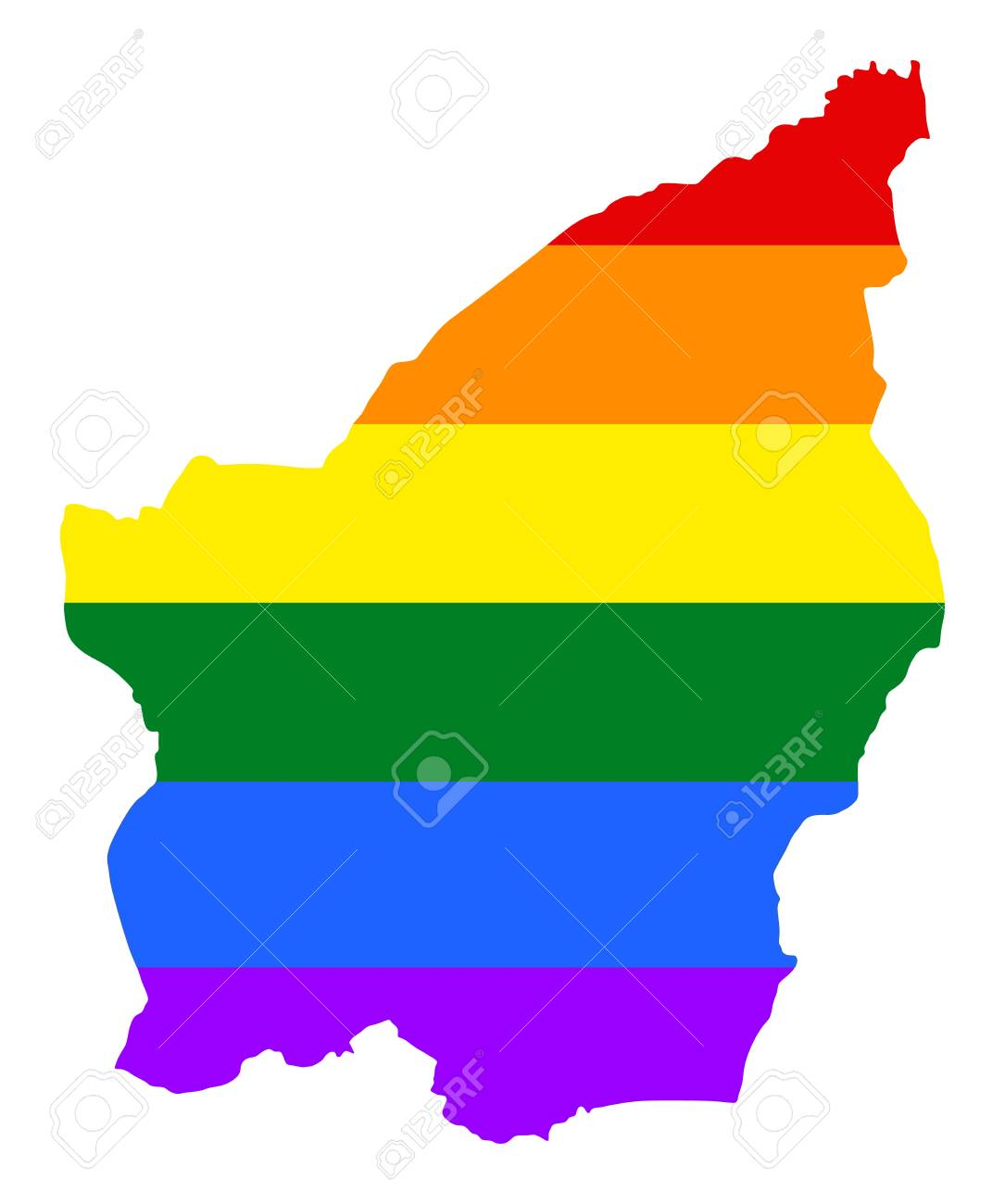 San Marino Pride Gay Map With Rainbow Flag Colors Europe Country
