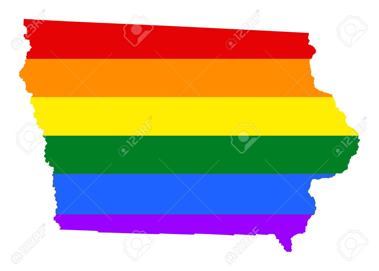 State Map Of United States Of America.Iowa Pride Gay Map With Rainbow Flag Colors United States Of