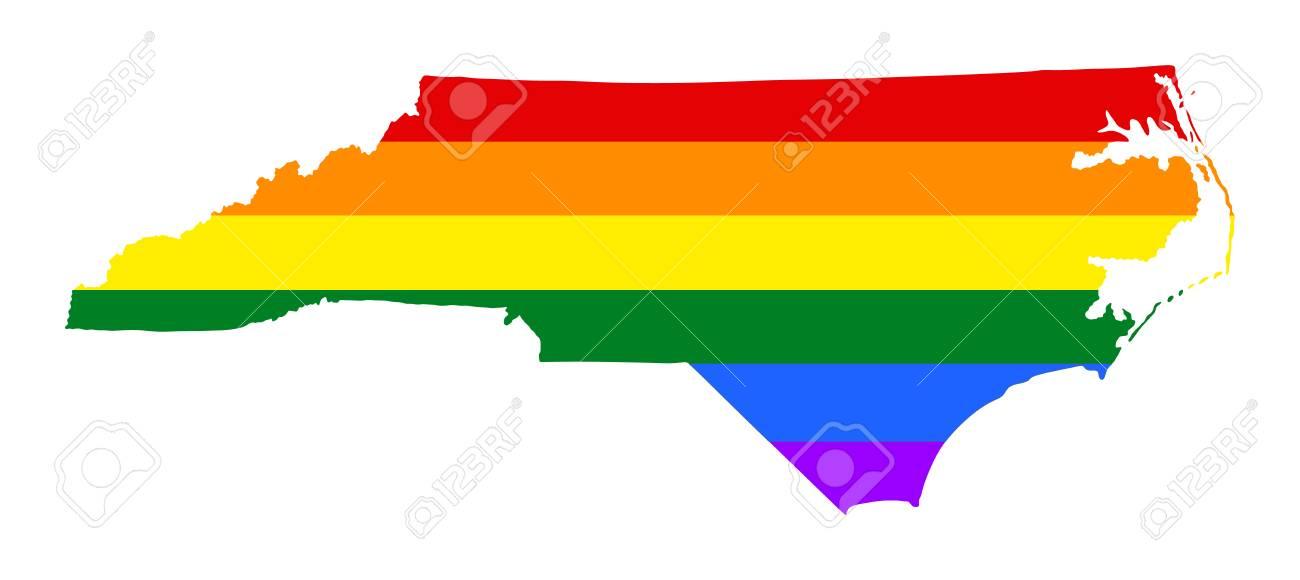 United States Map North Carolina.North Carolina Pride Gay Map With Rainbow Flag Colors United