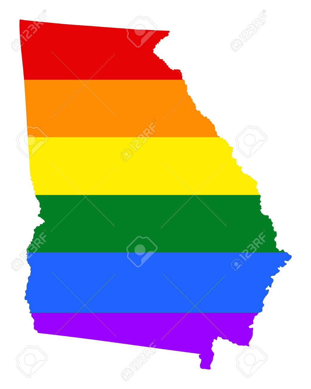 Georgia Pride Gay Map With Rainbow Flag Colors United States