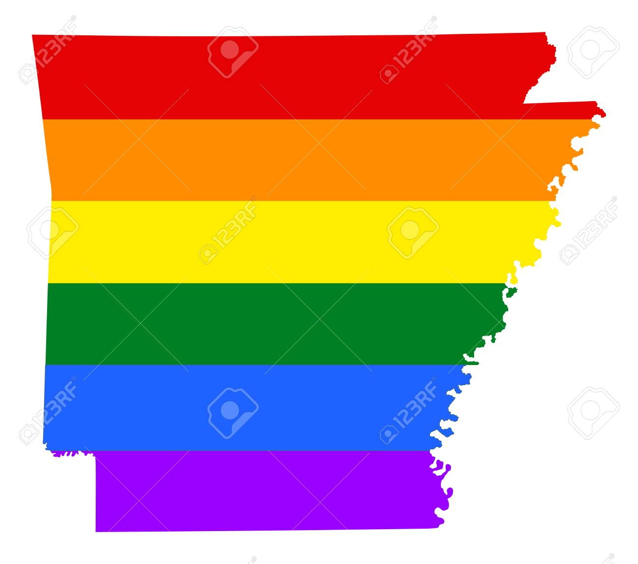Arkansas United States Map.Arkansas Pride Gay Map With Rainbow Flag Colors United States