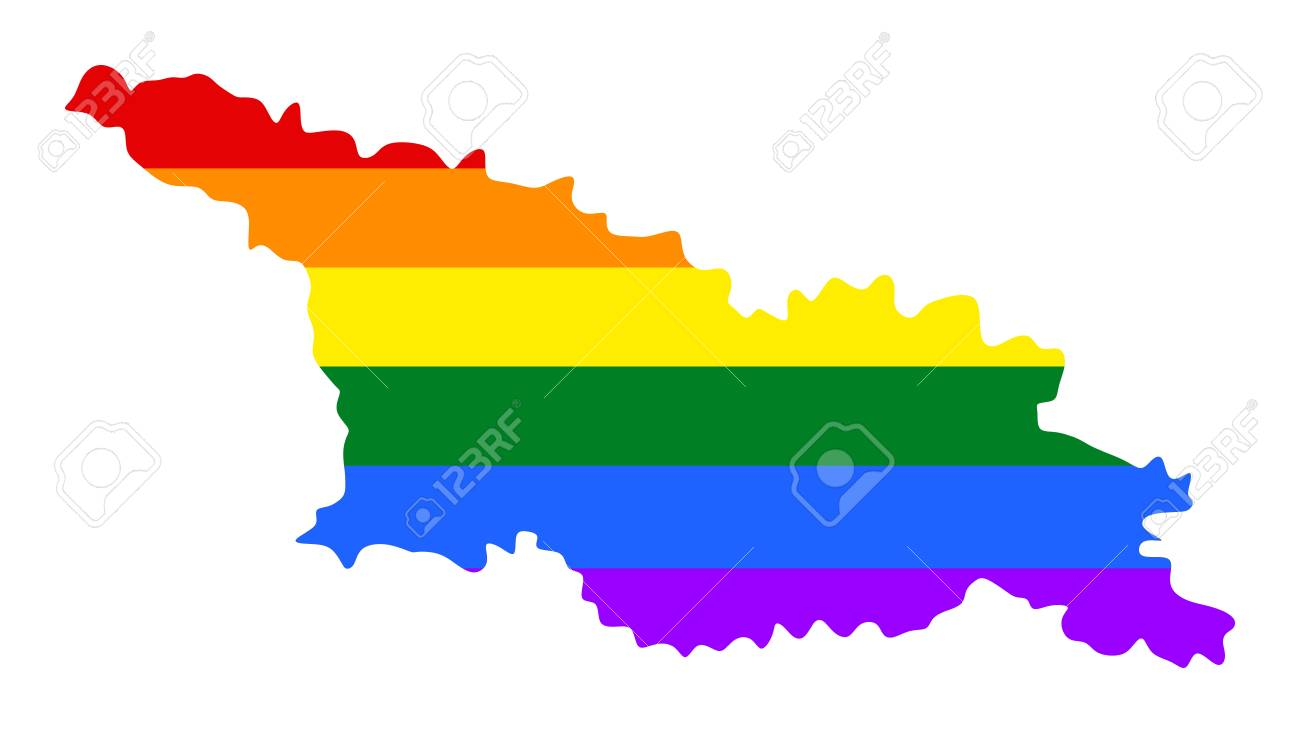 Georgia Pride Gay Map With Rainbow Flag Colors Asian Country