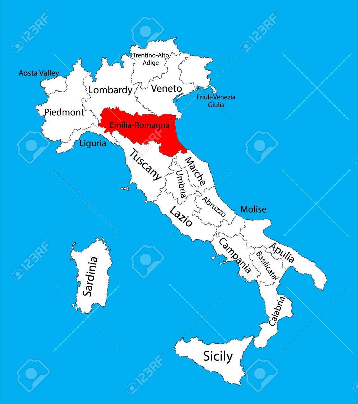 Carte Italie Emilia Romagna.Emilia Romagna It Vector Map Italy Vector Map Isolated Editable